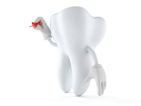 drawing pin: Tooth character holding thumbtack isolated on white background Stock Photo