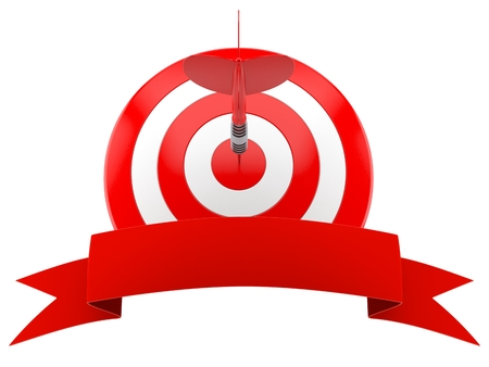 Bullseye met leeg rood lint dat op witte achtergrond wordt geïsoleerd