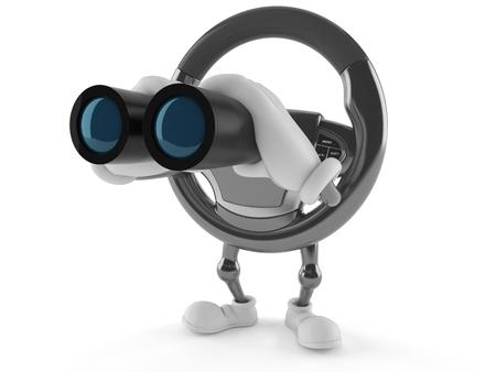 白い背景で隔離の双眼鏡で探して車ステアリング ホイール文字 写真素材