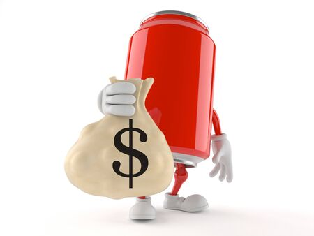 cola canette: Soda can character holding money bag isolated on white background