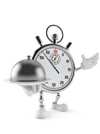 Stopwatch character holding catering dome isolated on white background