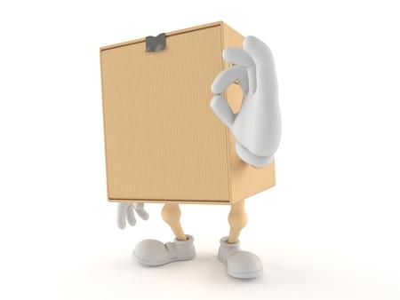 Pakket karakter met ok gebaar geïsoleerd op een witte achtergrond