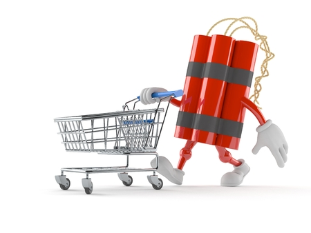 cartoon bomb: Dynamite character with shopping cart isolated on white background