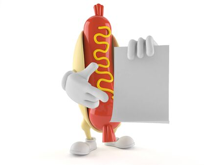 Hot dog character with blank sheet of paper isolated on white background
