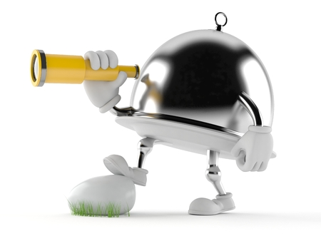 finding out: Silver catering dome with telescope isolated on white background Stock Photo