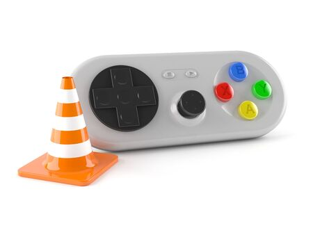 traffic controller: Gamepad with traffic cone isolated on white background Stock Photo