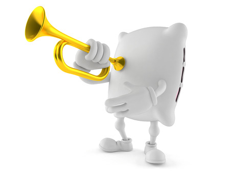 Pillow toon with trumpet isolated on white background Stock Photo