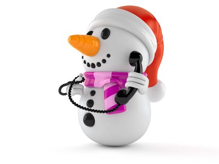 Snowman character holding a telephone handset isolated on white background