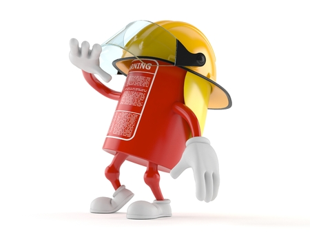 Fire extinguisher character isolated on white background Stock Photo