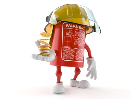 Fire extinguisher character with coins isolated on white background