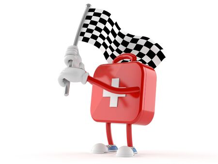 First aid kit character waving race flag isolated on white background