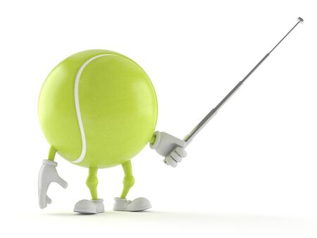 Tennis ball character holding pointer stick isolated on white background
