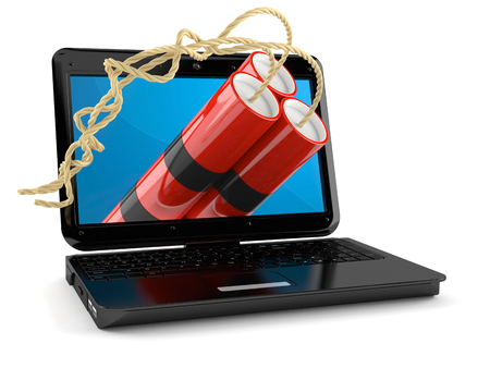 Laptop with dynamite isolated on white background