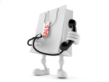 Shopping bag character holding a telephone handset isolated on white background Stock Photo