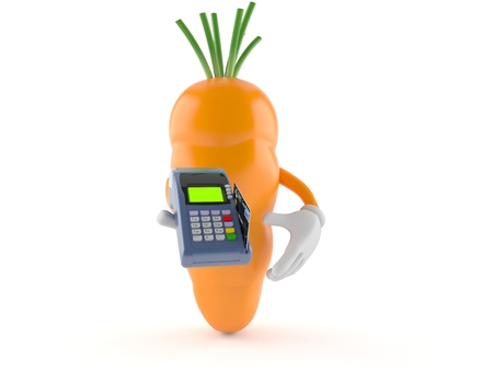 Carrot character holding credit card reader isolated on white background
