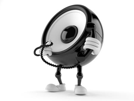 Speaker character holding a telephone handset isolated on white background