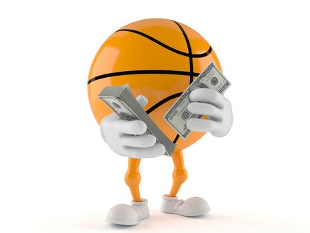 Basketball character holding money isolated on white background Stock Photo