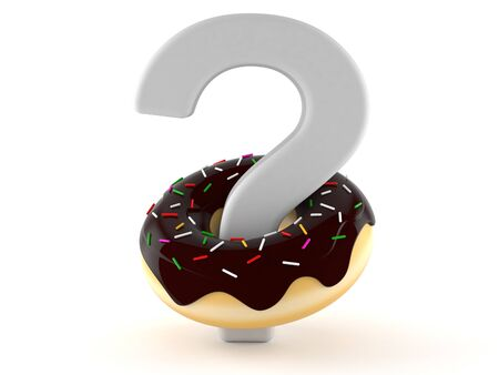 Question mark with donut isolated on white background