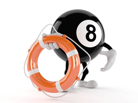 Eight ball character holding life buoy isolated on white background Banque d'images