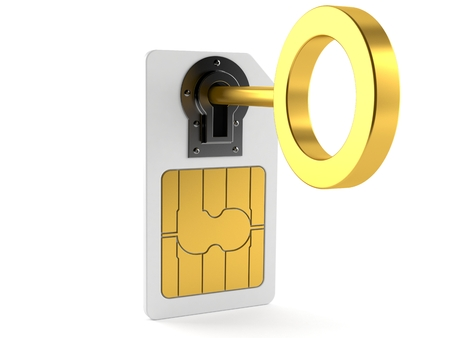 SIM lock concept isolated on white background Banco de Imagens