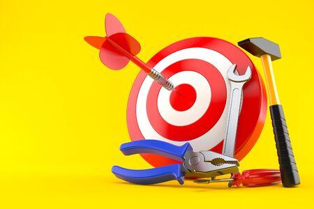 Bulls eye with work tools isolated on orange background Stock Photo