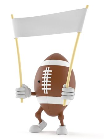 communication cartoon: Rugby character holding blank banner isolated on white background