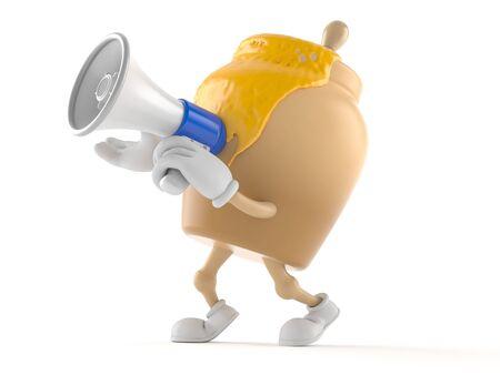 Honingpotkarakter die door een megafoon spreken die op witte achtergrond wordt geïsoleerd
