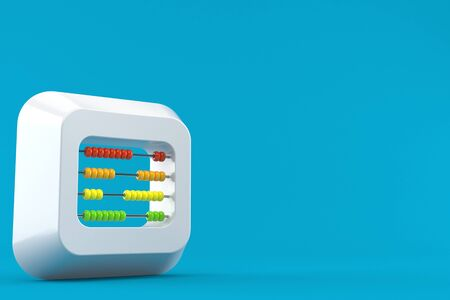 mathematics: Abacus inside keyboard key isolated on blue background Stock Photo