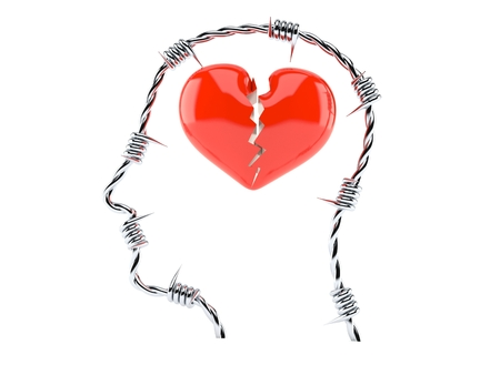Broken heart inside head isolated on white background 스톡 콘텐츠