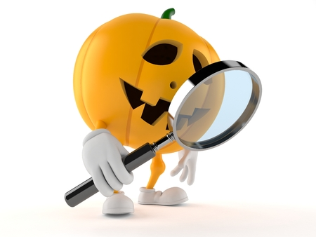 Halloween pumpkin character holding magnifying glass isolated on white background Foto de archivo