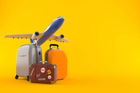 Airplane with luggage isolated on orange background