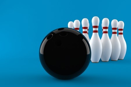 Bowling isolated on blue background