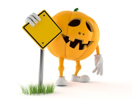Halloween pumpkin character with road sign isolated on white background