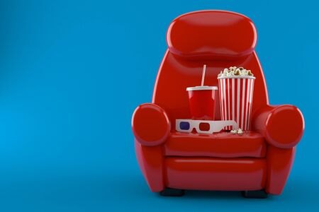 Armchair with popcorn and soda isolated on blue background Stock Photo