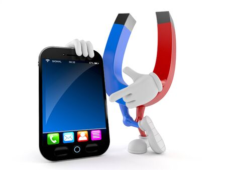 Magnet character with smart phone isolated on white background Stock Photo