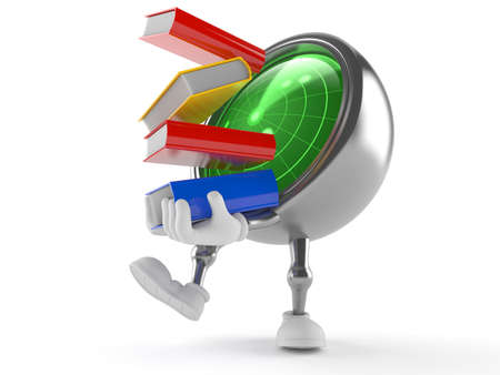 Radar character carrying books isolated on white background