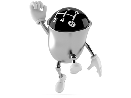 Gear knob character jumping in joy isolated on white background