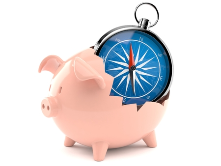 Piggy bank with compass isolated on white background  NASA Source map: https:eoimages.gsfc.nasa.govimagesimagerecords5700057752land_shallow_topo_2048.jpg layers of data used: outlines