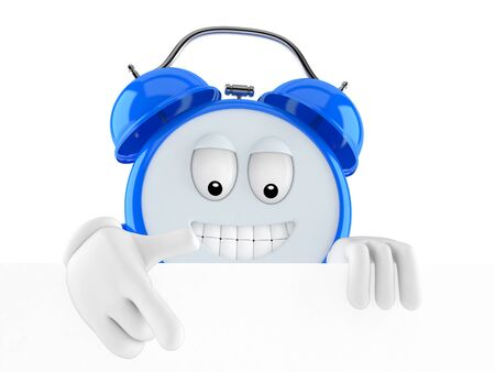 Alarm clock character pointing on white background Stock Photo