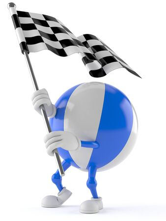 Beach ball character with racing flag isolated on white background