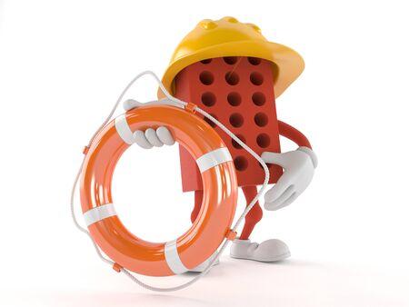 Brick character holding life buoy isolated on white background Stok Fotoğraf