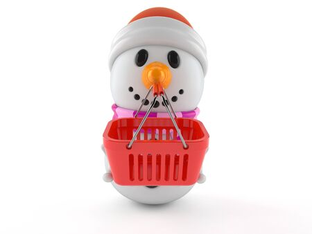 Snowman character holding shopping basket isolated on white background