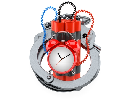 Time bomb with handcuffs isolated on white background Stock Photo