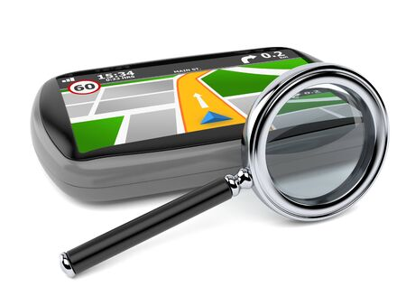 GPS navigation with magnifying glass isolated on white background Foto de archivo