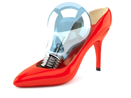 Red heel light bulb isolated on white background