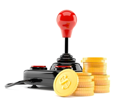 Joystick with stack of coins isolated on white background Stock Photo