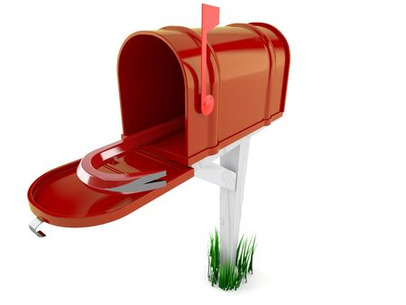 Open mailbox with crowbar isolated on white background Foto de archivo