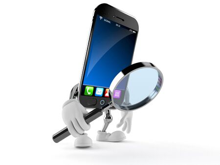Smart phone character looking through magnifying glass isolated on white background
