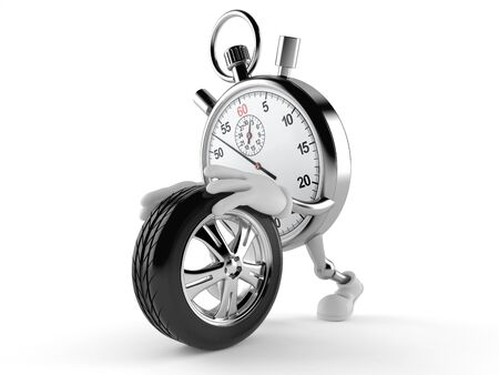 Stopwatch character rolling spare wheel isolated on white background