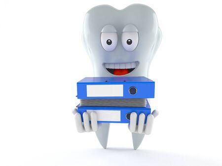 Tand karakter dragende ringbanden geïsoleerd op een witte achtergrond
